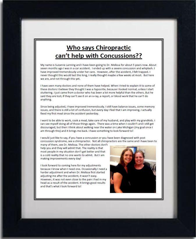 Chiropractic Brighton MI Office Testimonial Concussions